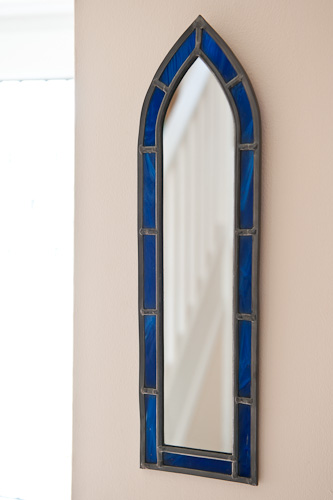Blue stained glass gothic mirror