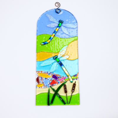 Fused glass dragonfly panel
