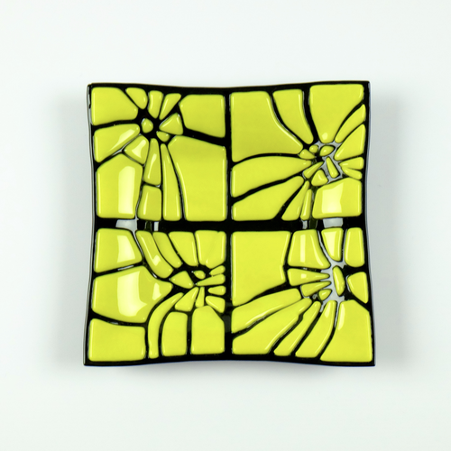Bright yellow and black fused glass cracked dish