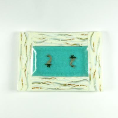 Fused glass dish with koi carp
