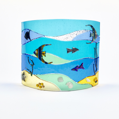 Fused glass sea scene