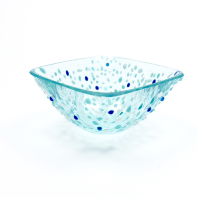 Blue fused glass square bowl