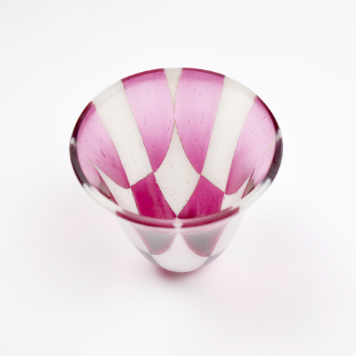 Pink and cream fused glass vase in check style