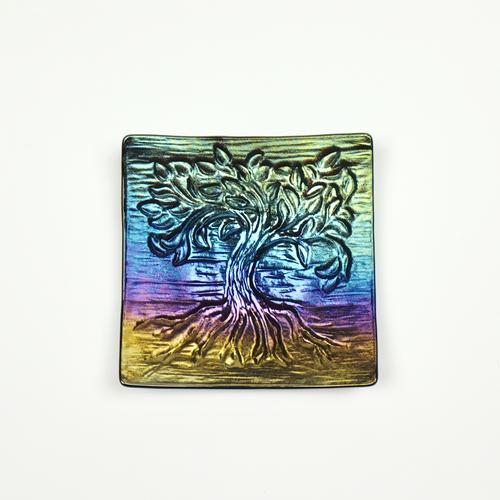 Irid fused glass tree of life dish