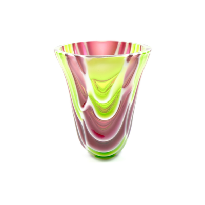 Pink and green fused glass vase