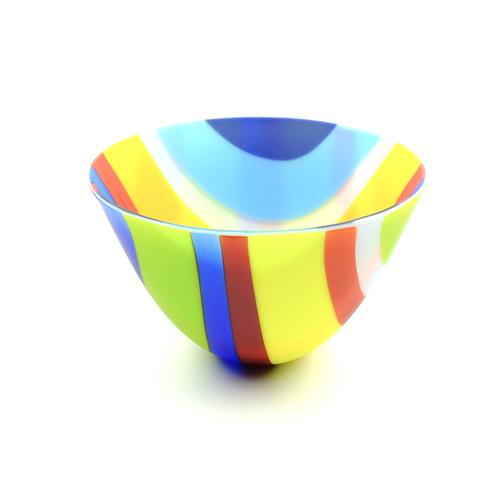 Fused glass rainbow bowl