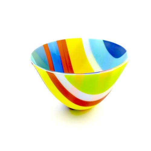 Multicoloured fused glass sandblasted bowl.