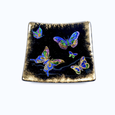 Black fused glass dish with butterflies
