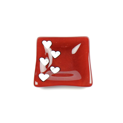 Fused glass red dish with silver hearts