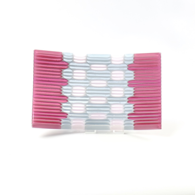Pink and grey fused glass rectangular plate