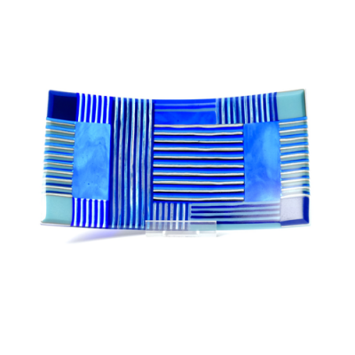 Blue and cream striped fused glass dish