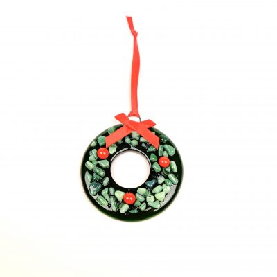 Christmas decoration fused glass holly wreath