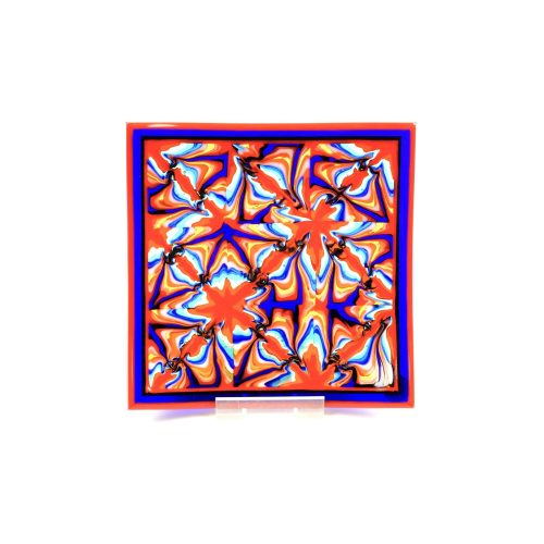 Orange and blue fused glass plate