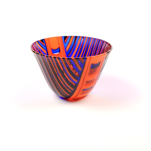 Fused glass striped bowl in orange and blue
