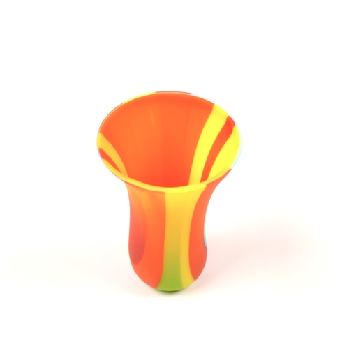 Small fused glass vase in orange green yellow and blue