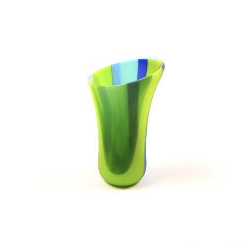 blue and green fused glass vase
