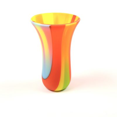 Small sandblasted fused glass vase in orange green yellow and blue