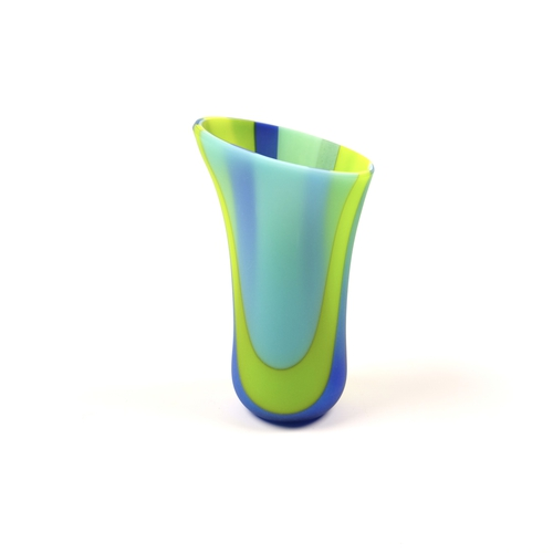 Small sandblasted glass vase in green and blue