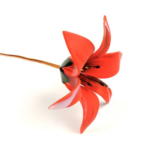 Fused glass red lily