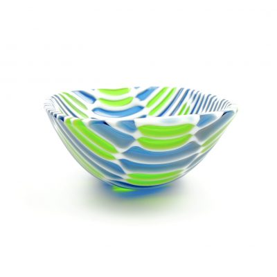 Blue and green fused glass bowl