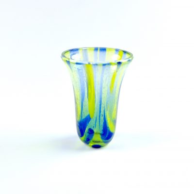 Small fused glass vase in blue and green