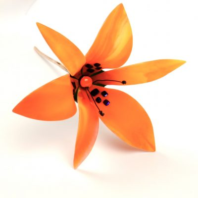 Fused glass lily