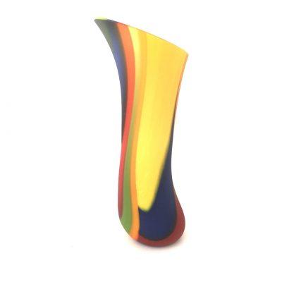 Multi-coloured Fused glas matte vessel