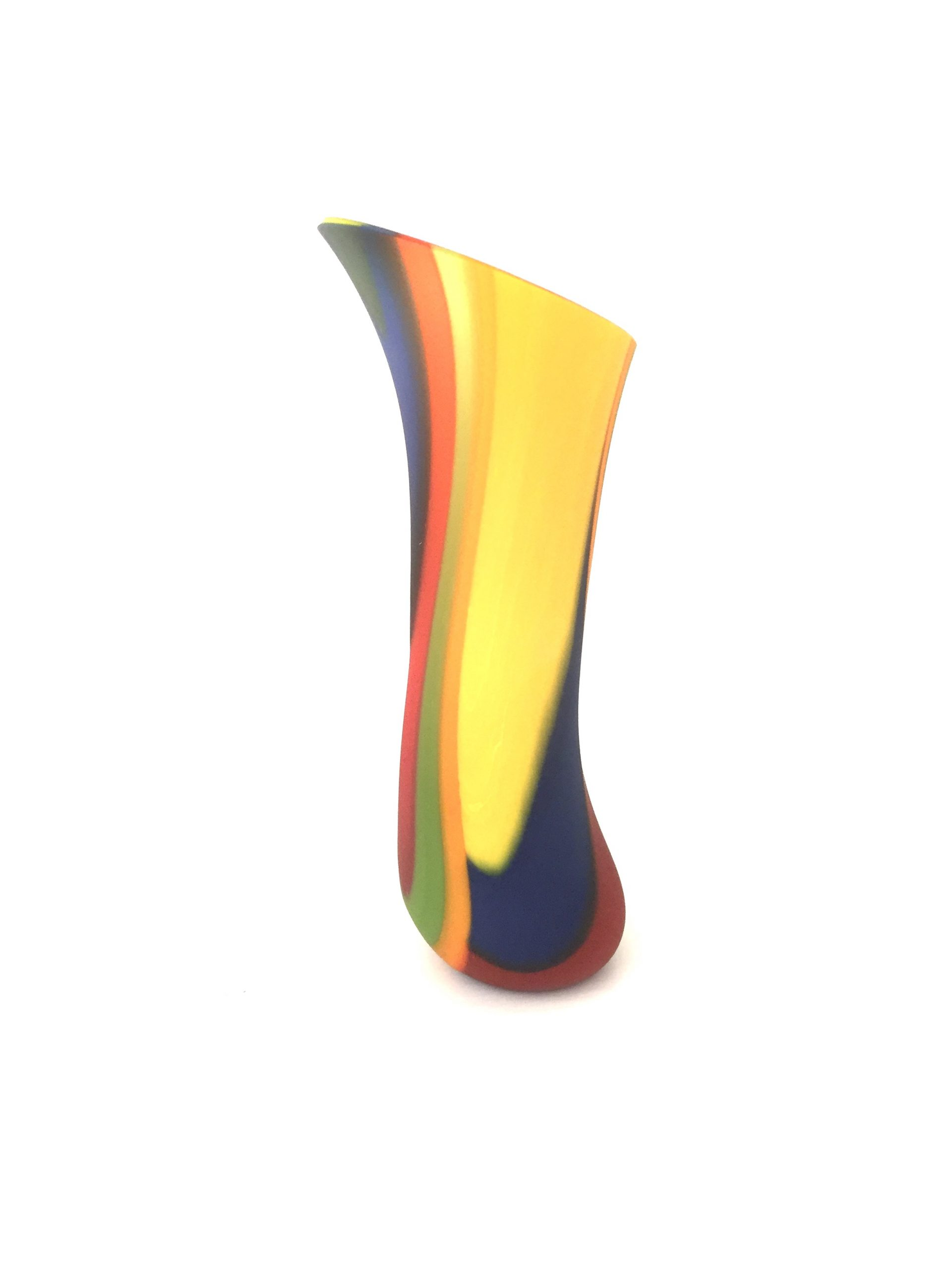 Fused glass multi-coloured, matte vessel, which would not have existed without a growth mindset of a creative glass artist.