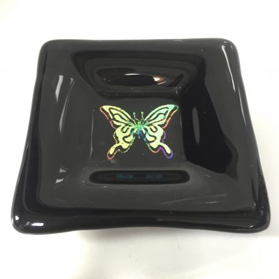Black trinket dish with butterfly