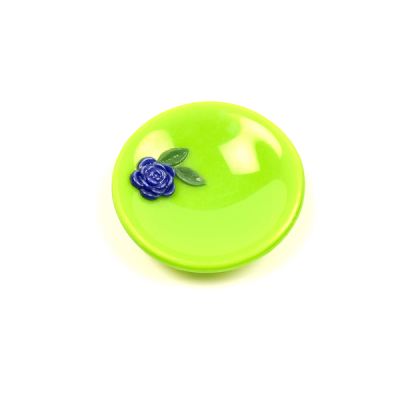 Green and blue trinket dish with blue rose