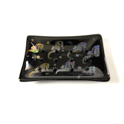 Black fused glass slapdash decorated with seahorses
